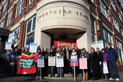 NUJ general secretary Michelle Stanistreet on the picket line at the Northern Echo as members strike over job losses as production moved to Wales
