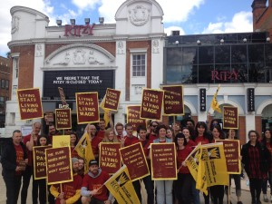 Ritzy workers campaigning for the Living Wage