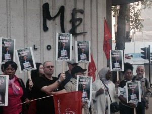 Protest against the sacking of waiter Robert Czegely. Pic by Chantal Chegrinec