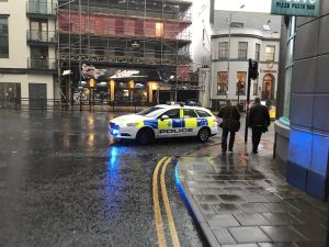 Police cordon off the roads around the TUC. Image by @Mr_Tony_Green