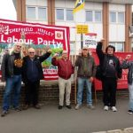 PCS strikers outside Eastern Avenue JobCentre in Sheffield. Pic by  @JaneAitchison